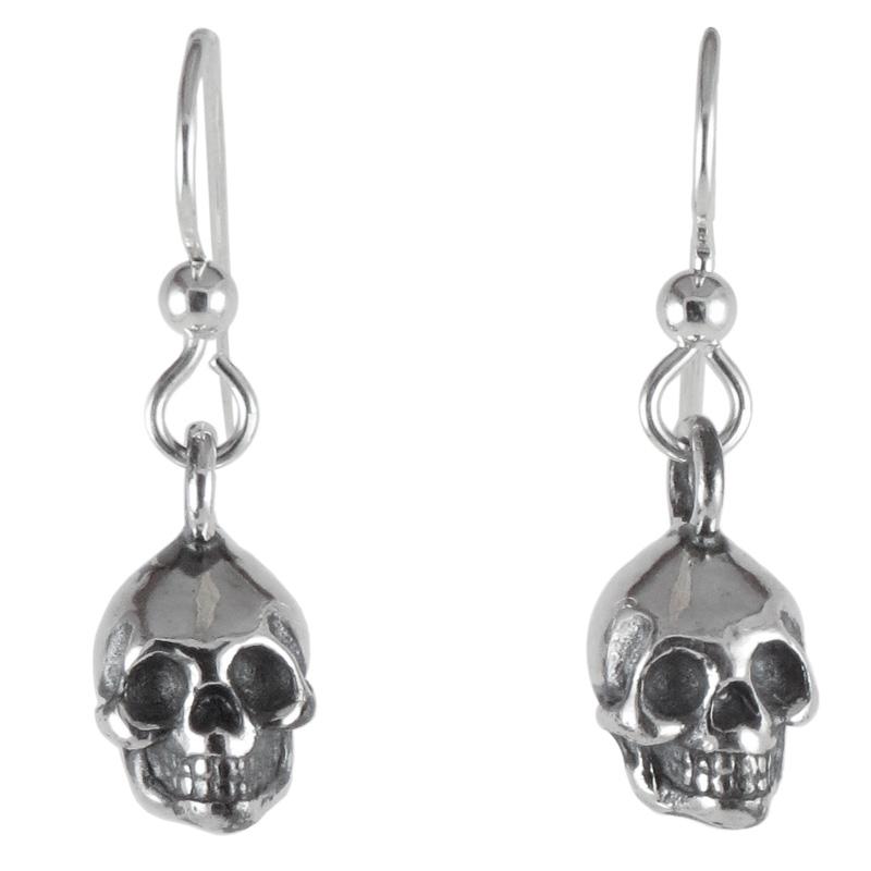 earrings skull silver front